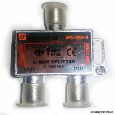Делитель ТВ 1/2 Арбаком APA-226-A с проходом по питанию на все порты